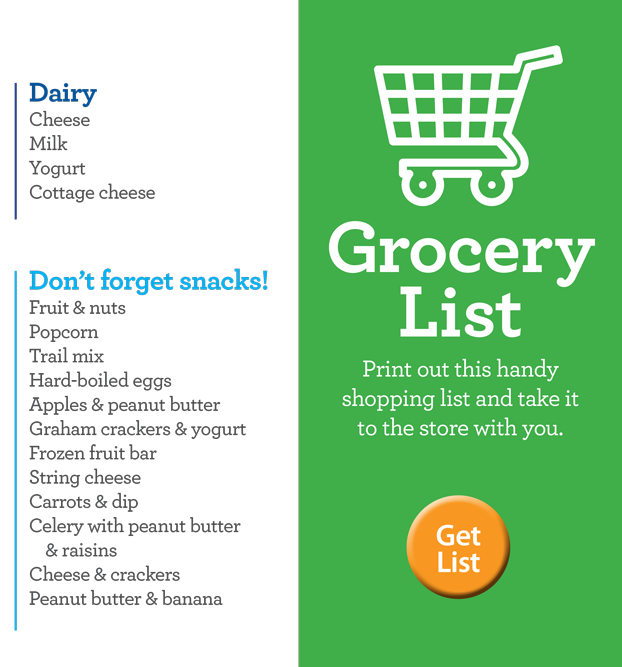 Grocery cart and link to list