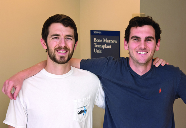 Medical students John Howard, left, and Ian Mallett entered the national Be the Match program as possible bone marrow or stem cell donors. Howard matched as a stem cell contributor, Mallett as a bone marrow donor.