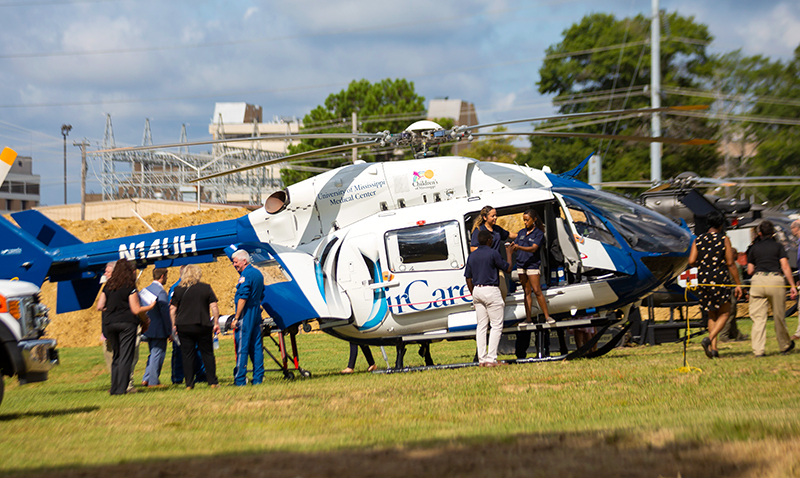 UMMC's AirCare, Mississippi's most advanced medical helicopter transport, is a key emergency response vehicle flown in conjunction with the Mississippi Center for Emergency Services.