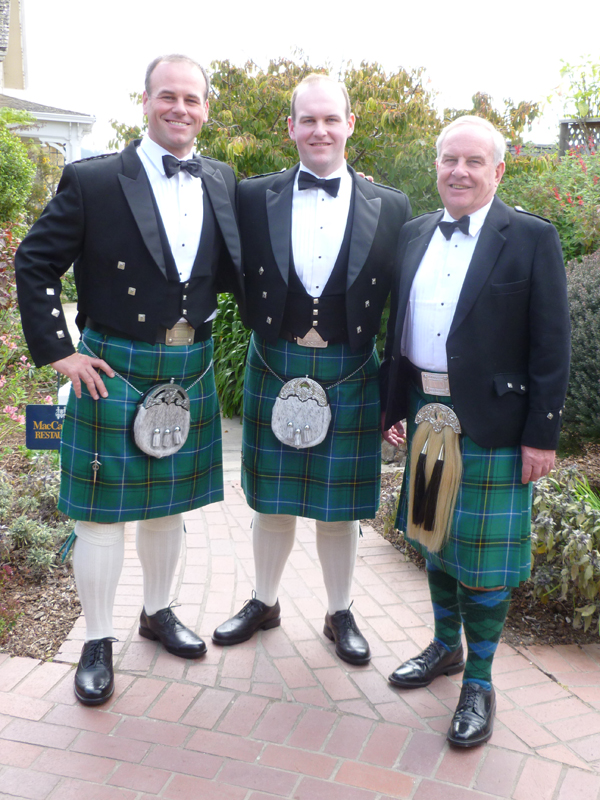 Dr. Michael Henderson (right) and his sons were among family members wearing kilts at the marriage of John Paul Henderson (center). Also pictured is Justin Henderson.