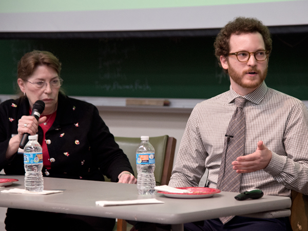 "Sue Ann Meng, left, geriatrics social worker, and Dr. Scott Gibson, assistant professor of medicine (geriatrics), serve as panelists for the Dec. 17 Schwartz Center Rounds session, ""Holidays and the Elderly."""