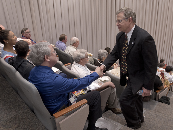 Prior to the meeting, Vitter mingles with faculty, including Dr. Stephen Kemp, professor of medicine and pediatrics.