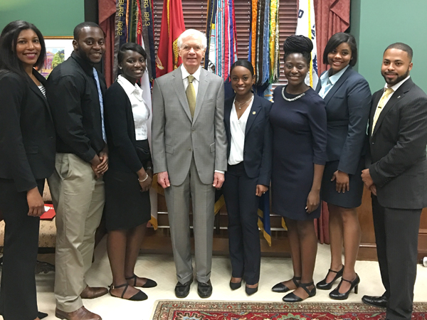 Students who were awarded RESULTS fellowships meet in late June with U.S. Sen. Thad Cochran, center, R-Mississippi, in his Washington, D.C. office are, from left, Wheeler, Adah, Carmichael, Davis, Ezekwe, Jefferson and Nunnery. Cochran is the chairman of the powerful Senate Appropriations Committee.