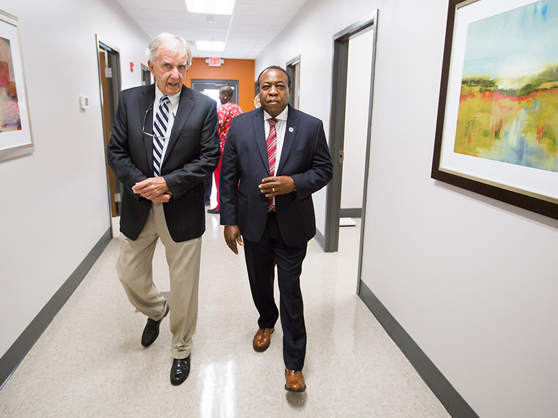 Humphreys County Board of Supervisors president Dickie Stevens and District 5 Supervisor Roy Broomfield tour the new UMMC Community Care Clinic.