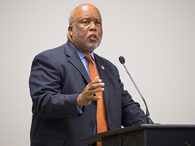 U.S. Rep. Bennie Thompson speaks during the facility's ribbon cutting August 29