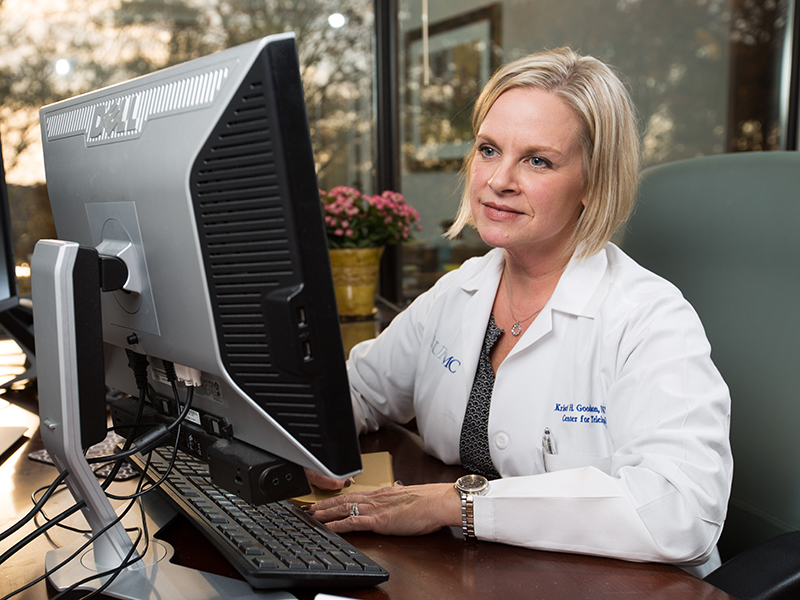 Kristi Goodson, a nurse practitioner with UMMC Telehealth, shows how she would see and talk with a patient during an actual UMMC 2 You medical appointment using video-conferencing technology.