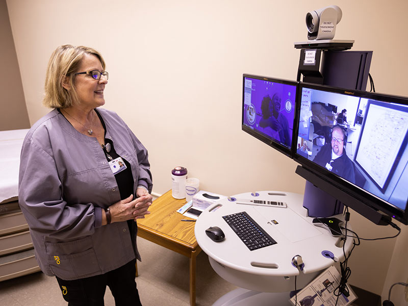 Jody Bell, UMMC Grenada nurse, speaks via live video to a member of the UMMC Center for Telehealth staff in Ridgeland.