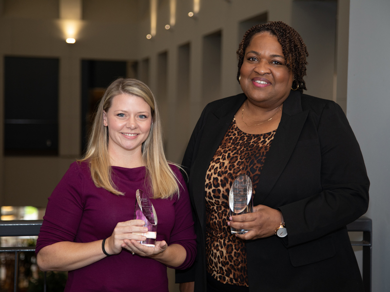 Meritorious Research Service-Staff award recipients Ashley Johnson and Gloria Minniefield