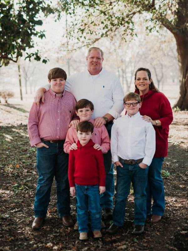 Katie Patterson and her husband David have four sons, John Kastens, foreground, and, from left, Samuel, Nicholas and Reilly.