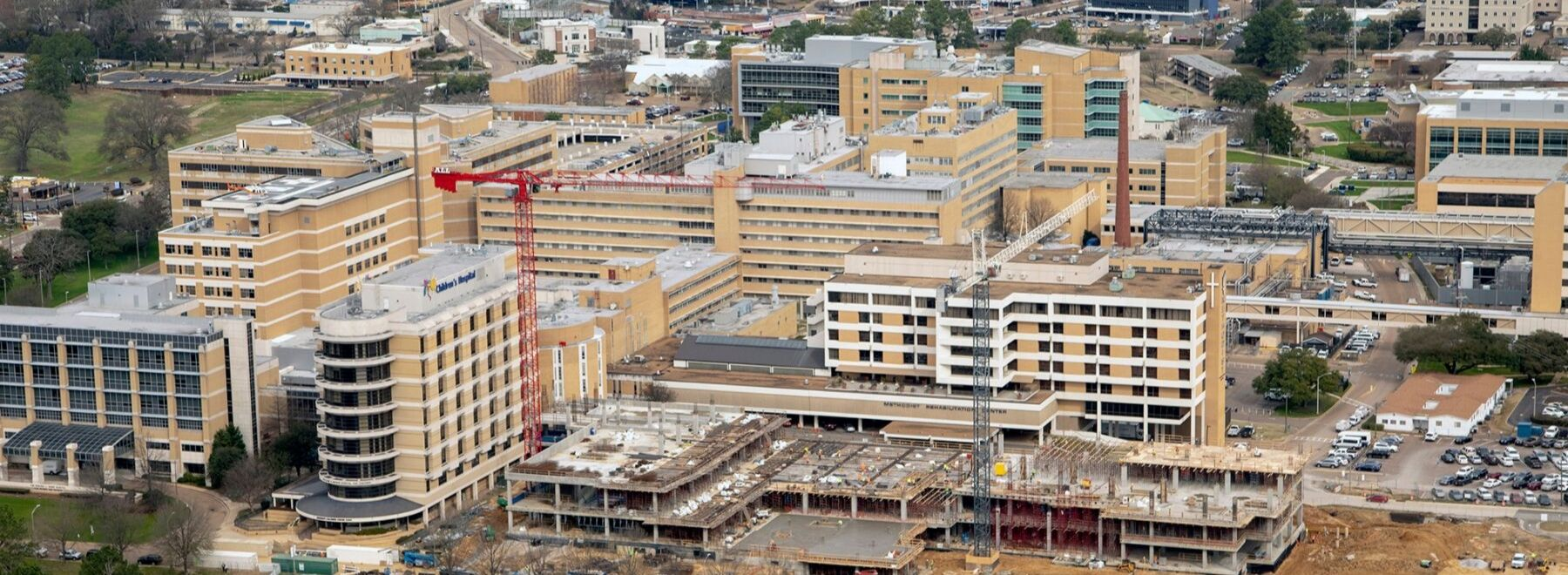 Aerial view of Children's of Mississippi construction
