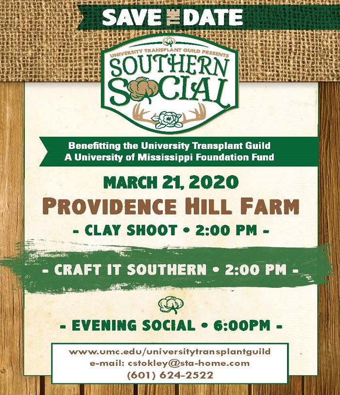 Save the Date for the Southern Social March 30, 2019, at Providence Hill Farm