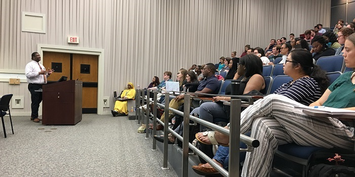 Dr. Demondes Haynes addresses students