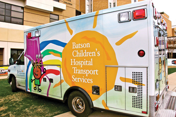 One of the newer ambulances to transport babies and children around the state awaits the next call at the hospital.