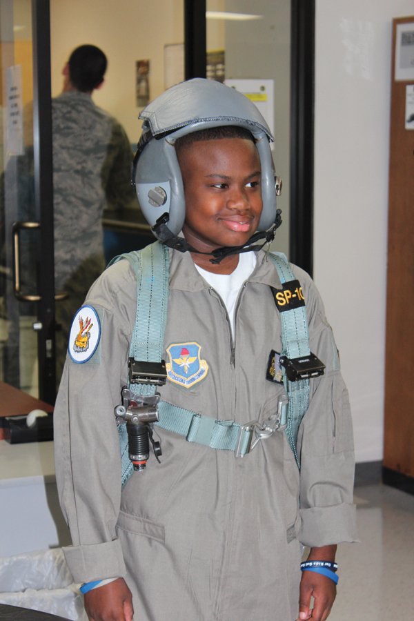 "Jacob trains as a ""Pilot for a Day"" with the 14 Flying Training Wing at Columbus Air Force Base."