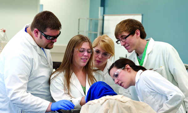 At this stage of dissection, the students at Table 25 keep their cadaver's face covered with a blue cloth.