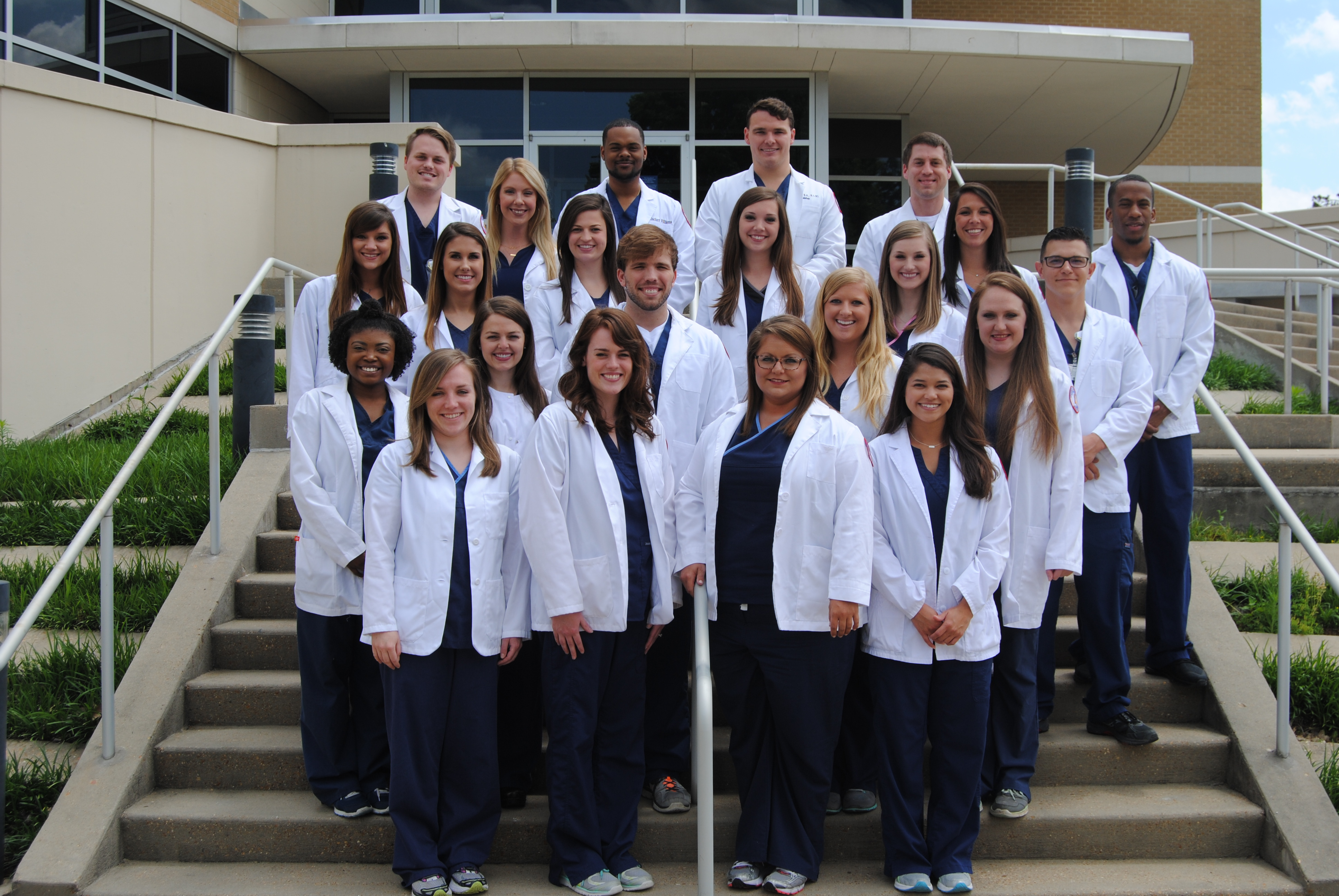 Radiologic sciences graduates who achieved a perfect pass rate include, front row from left, Anne Howard Steinwinder, Shelby Erickson, Alison Sullivan and Liana Wooley; second row from left, Taylor Shumpert, Alexa Graham, Tyler Johnson, Hanna Kemp and Alex Noah; third row from left, Mary Hooper Mason, Kala Ford, Anna Crawford, Savannah Gillis, Kimberly Tolliver, Leah Santucci, Anthony Chirinos and Jeremy Williams; and back row from left, Brooks Jackson, Victoria Hardwick, Rischer Williams, Tyler Gray and Tyler Burnett.