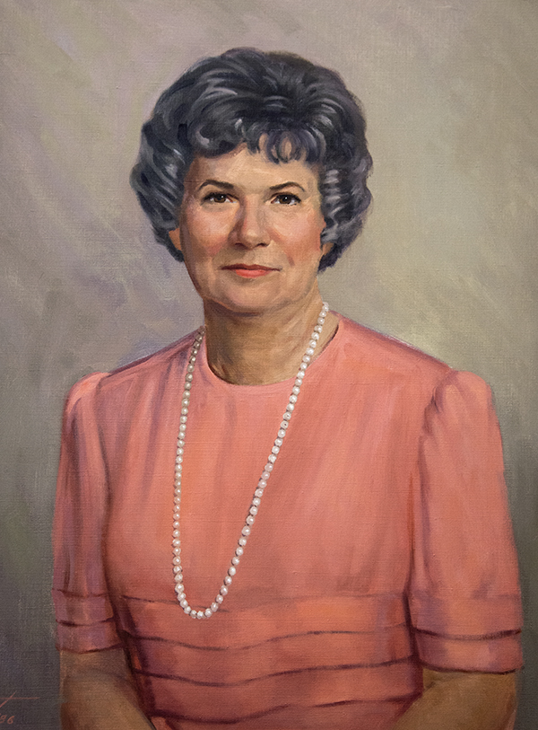 Appropriately, this portrait of Irene Graham hangs in the Rowland Medical Library, where Graham worked for more than 30 years and where many of the paintings she donated are still displayed.