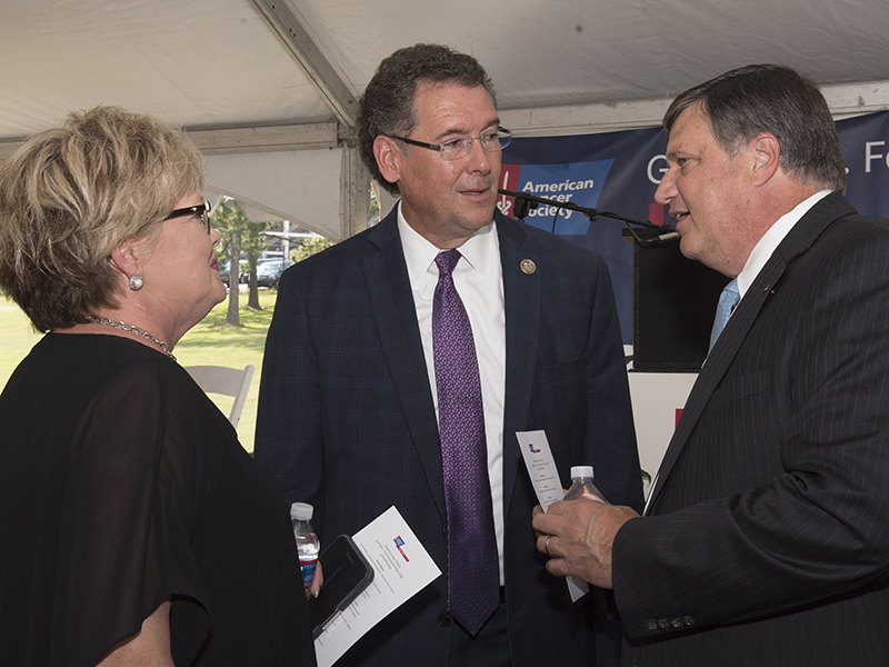 U.S. Rep. Greg Harper, chats with Hope Lodge supporters before the official groundbreaking event begins.
