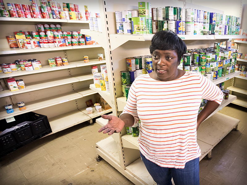Stephanie Echols, director of food services at Stewpot Community Services in Jackson, oversees the nonprofit's food pantry that supplies needy families and senior citizens with non-perishable groceries. Some of Stewpot's food stock comes from the Mississippi Food Network, which works to address hunger and food insecurity in Mississippi communities.