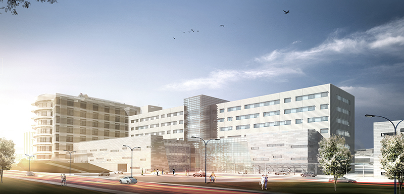 Daytime rendering of the new Children's of Mississippi hospital expansion