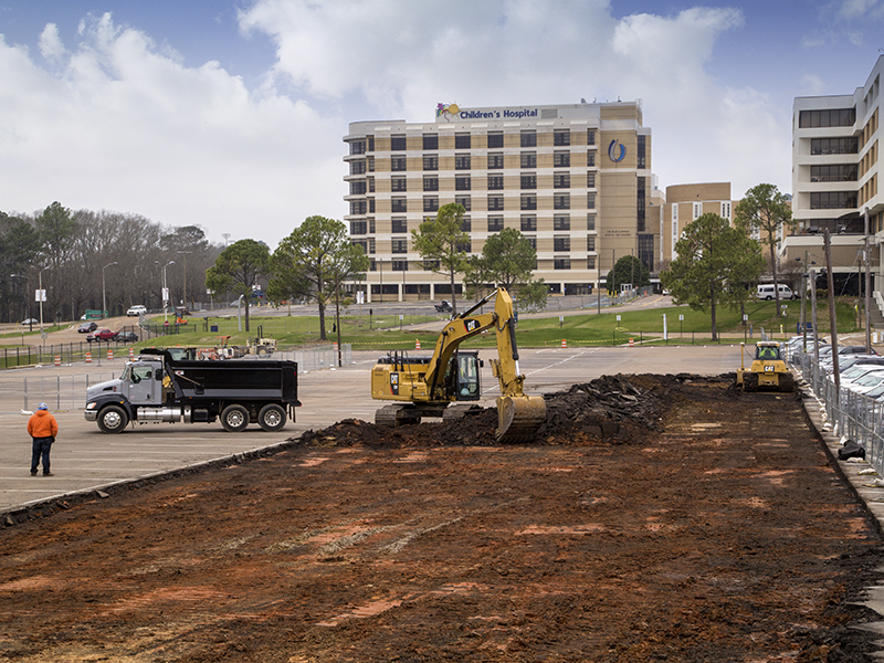 Construction of the new children's tower is now underway: Site excavation, foundation and road work will continue for the next four to six months.