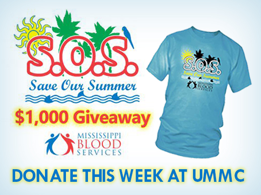 This T-shirt will be given to all participants in the UMMC-MBS 'SOS' blood drive.