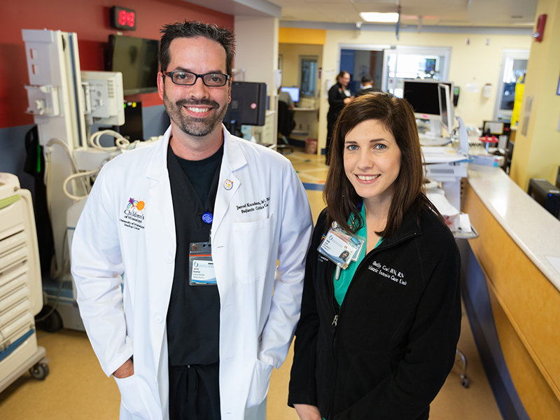 The PICU leadership team includes Dr. Jarrod Knudson, chief of pediatric critical care, and Shelly Ivers Craft, nurse manager.