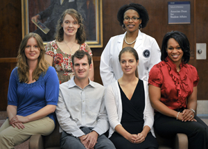 UMMC faculty will mentor six students participating in the GE-NMF Primary Care Leadership Program. The students are, seated from left, Carolita Heritage from UMMC, Hal Flowers from UMMC, Caroline Price from the University of Alabama-Birmingham, Jaleen Sims from Southern Illinois University School of Medicine, and standing from left, Kristie Alvarez from UMMC and Tiffany Jackson from Mercer University School of Medicine.