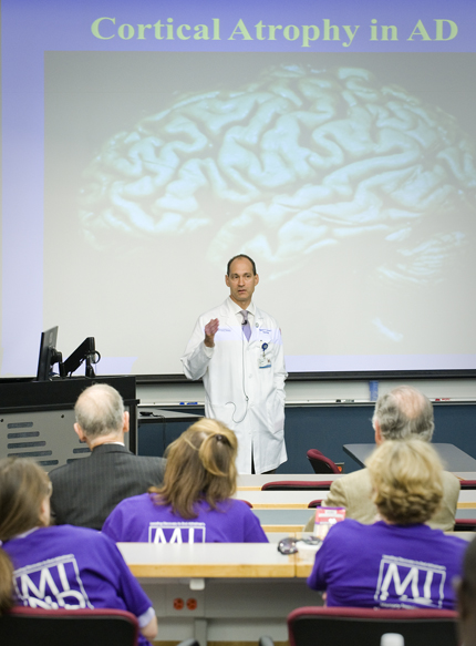 "Dr. Alexander Auchus, answers questions after his presentation ""Deciphering Alzheimer's Disease"" Sept. 21 which was in celebration Alzheimer Action Day sponsored by the University of Mississippi Medical Center's Mind Center."
