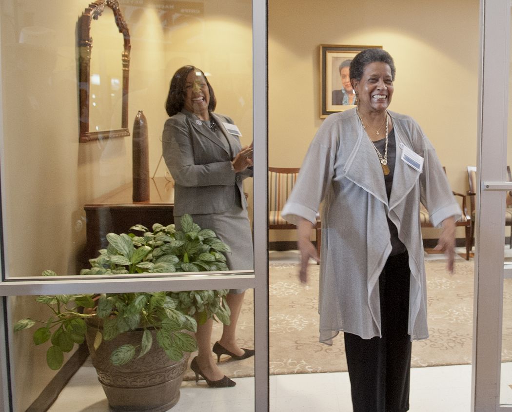 Dr. Myrlie Evers-Williams on a tour of the institute.