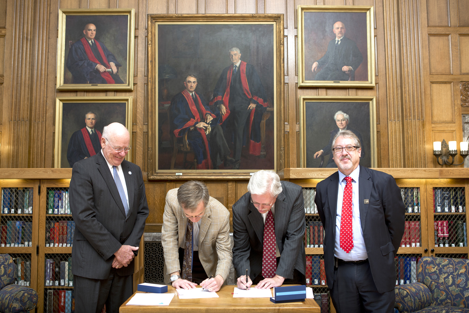 Taking part in the signing at the Mayo Clinic in Rochester, Minnesota were (from left) Dr. James Keeton, Dr. Robert Rizza, Dr. Richard Summers, and Dr. Gregory Gores, Mayo Clinic executive dean for research.