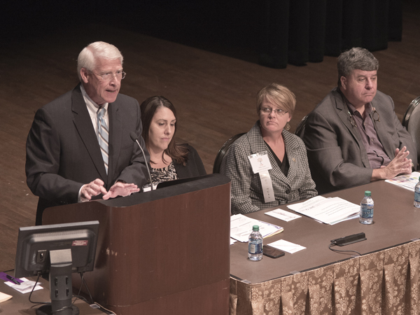 U.S. Sen. Roger Wicker addresses a general session of the 16th Annual Conference on Alzheimer's Disease and Psychiatric Disorders in Older Adults at the MSU Riley Center in Meridian on Wednesday. Wicker participated in a panel discussion on state and national legislative action that focuses on dementia.