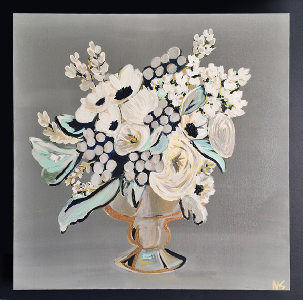 Though she also enjoys painting abstracts, Miriam Shufelt includes floral still lifes in her collection of works.