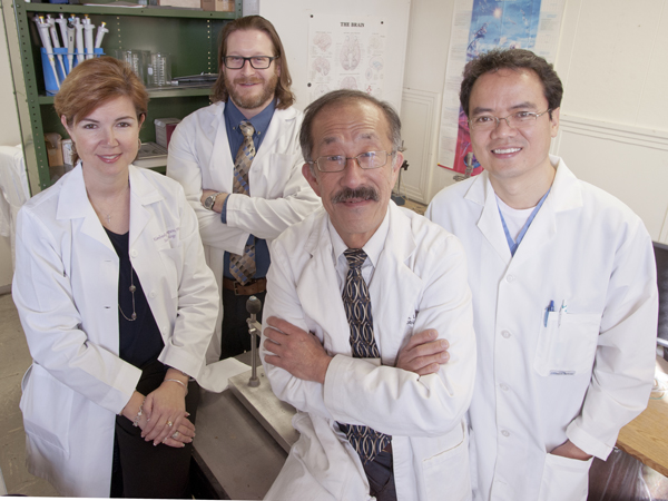 "The UMMC team that helped discover behavioral training to rewire the brains of rodents are pictured here from the Department of Neurobiology and Anatomical Sciences. From left, Dr. Kimberly Simpson, Dr. Ryan Darling, Dr. Rick Lin and Dr. Yuegen ""Jordan"" Lu."