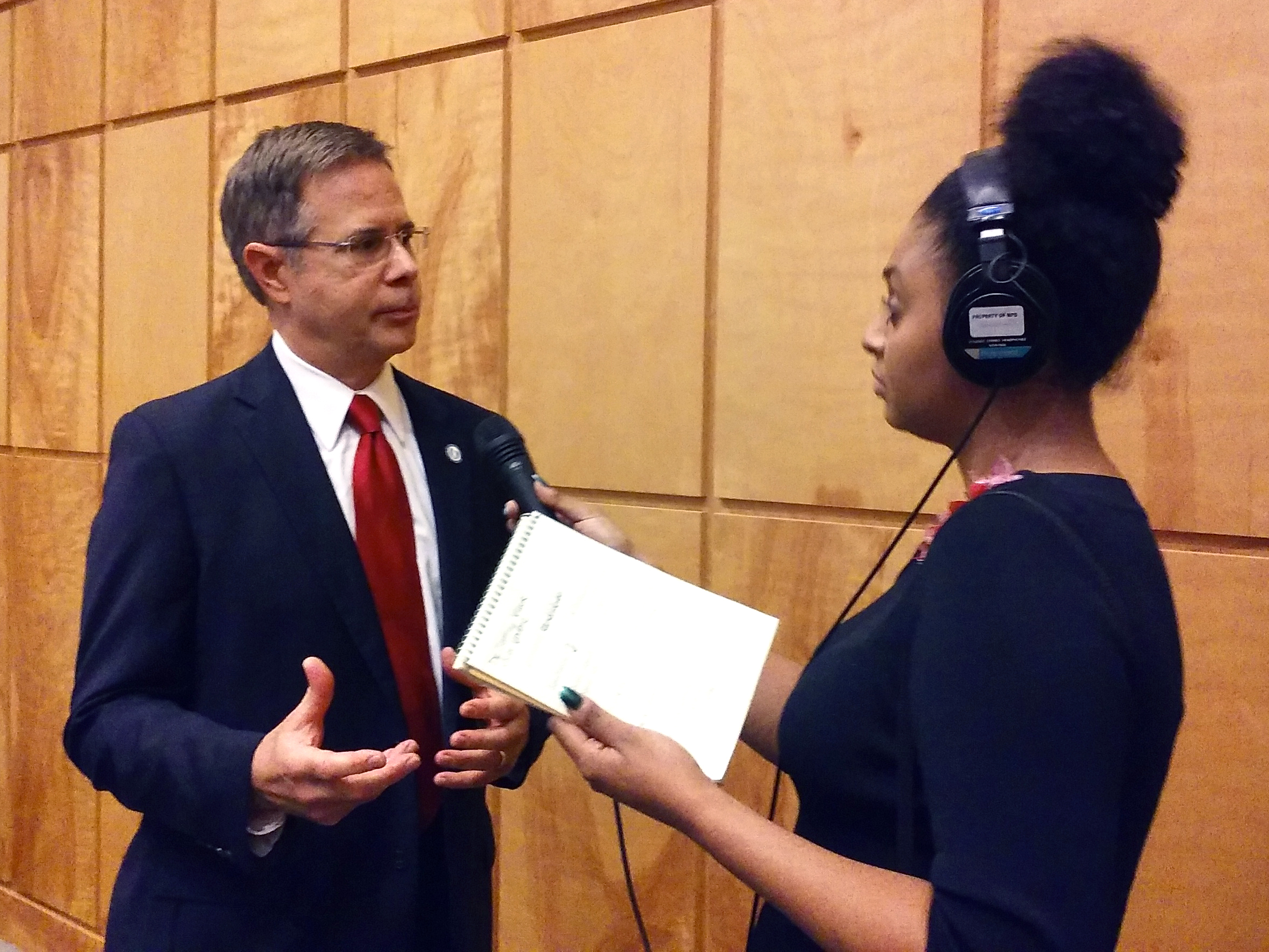 Vitter is interviewed by Mississippi Public Broadcasting's Maura Moed.