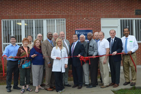 UMMC Holmes County staff including CEO David Putt, Mike Kelly, Dewery Montgomery and Jolynn White joined Kevin Cook, CEO of University Hospitals and Health System, and Vaiden-area business and government leaders for the opening of UMMC's Vaiden clinic. (Photo: Tish Butts/The Conservative)
