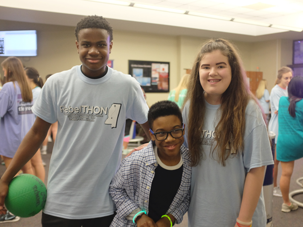 A trio of Children's Miracle Network Champions for Mississippi, 2014-15 Champion Jacob Partlow, 2016-17 Champion Jordan Morgan and 2015-16 Champion Hannah Dunaway, were on hand for this year's RebelTHON, a fundraising dance marathon and celebration at the University of Mississippi in Oxford.