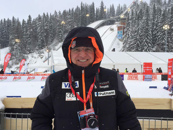 Speca has traveled internationally as one of the doctors who care for the U.S. Men's Ski Team. He's pictured here at a recent competition in Finland.