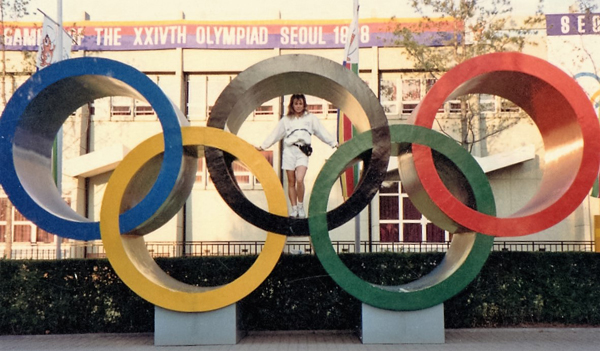 Valentina Juncos poses inside the iconic Olympic rings while competing at the 1988 games in Seoul.