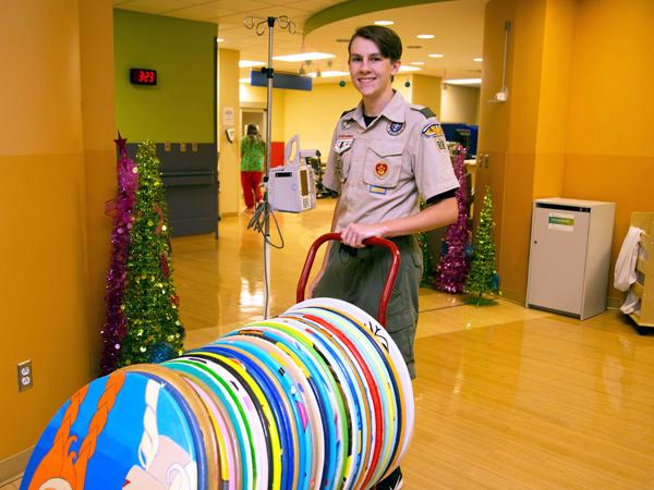 Preston Vaughan visited the Children's Emergency Department to deliver some of the 48 lily pads.
