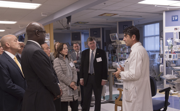 Dr. Ali Dodge-Khatami describes the work done in the PICU to guests from Haiti, Bahamas, France, Hong Kong and Italy.