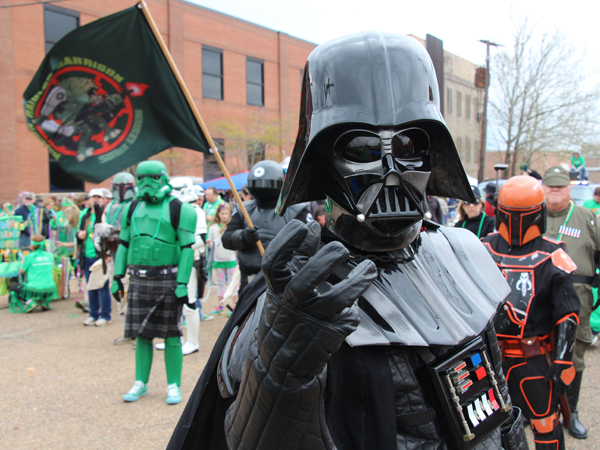 "Members of the Rancor Raiders Garrison of the 501st Legion marched in their ""Star Wars"" gear in Hal's St. Paddy's Parade."