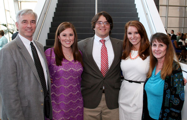 The Skelton family gathers in 2015 on the day Thomas Skelton Jr. received his white coat as an entering student in the School of Medicine. From left are Dr. Thomas Skelton Sr., Dr. Laura Skelton Smith, Thomas Jr., Dr. Charlotte Skelton Taylor and Dr. Deborah Skelton.