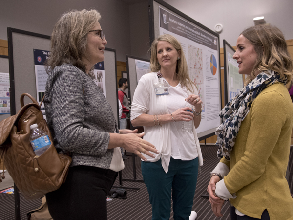 Kathy Knight, left, associate professor of nutrition and hospitality management at UM, Jennifer Cook, center, nurse practitioner at UMMC and Leslie Berryhill, clinical metabolic dietitian at UMMC. Berryhill and Cook presented a poster on newborn screening and inherited metabolic disorders in Mississippi. Knight presented on nutritional interventions to prevent childhood obesity.