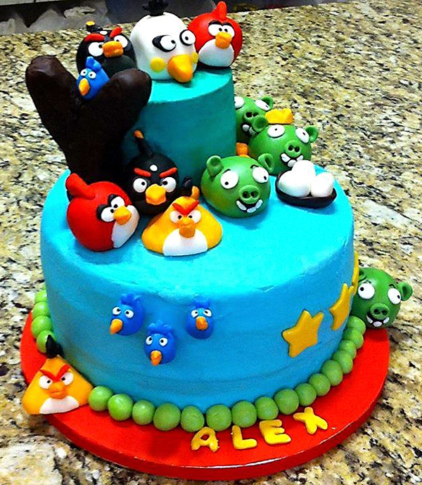 One of the two-tiered Angry Birds-themed cakes made by the Sticky Sweet duo.
