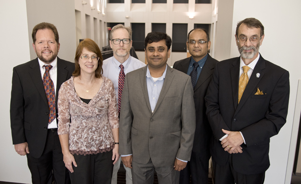 Bronze medallion awardees from left, Dr. Michael Roach, Dr. Maureen Wirschell, Dr. Joseph Maher, Dr. Mallikarjuna Pabbidi, Dr. Suvankar Majumdar and Dr. Robin Rockhold. Not pictured are Dr. Michael Puskarich and Dr. Kedra Wallace.