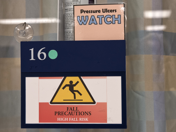 The doors of Medical Center patients in the Conerly Critical Care Hospital, many who are bedbound for a long period of time, often carry signs alerting staff to pressure ulcer risk.