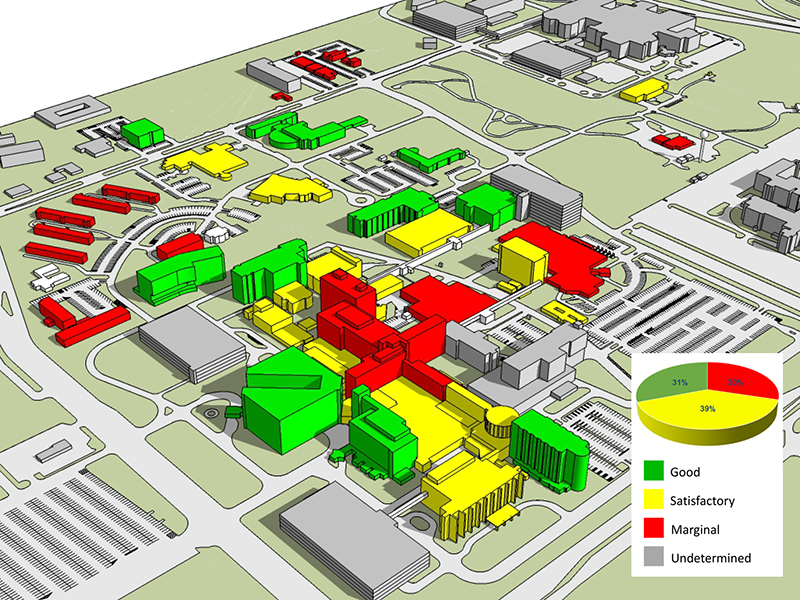 According to the new Campus Master Plan, the buildings in red indicate those requiring significant upgrades – not coincidentally, they include the oldest structures on campus.