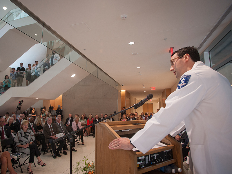Johnny Lippincott, a fourth-year student in the University of Mississippi School of Medicine, addresses a crowd of dignitaries, students and faculty during dedication ceremonies for the new School of Medicine.