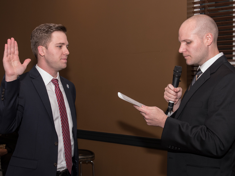 Thomas, left, was sworn in as the new ASB by former president Brock Banks, a fourth-year medical student, at a dinner ceremony in May of this year.
